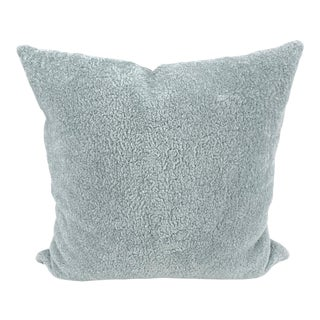 Pale Blue Sheepskin & Silver Leather Pillow For Sale