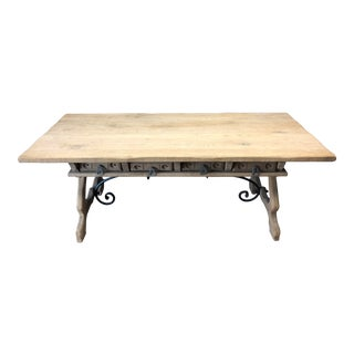 Antique English Oak Farm Table with Iron Stretcher and Drawers For Sale