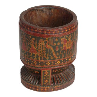 1900s Antique Wooden Painted Morter For Sale