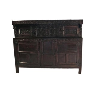 17th Century English Oak Court Cupboard For Sale