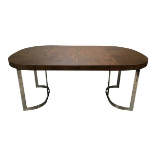 Milo Baughman Burl Wood Chrome Base Dining Table