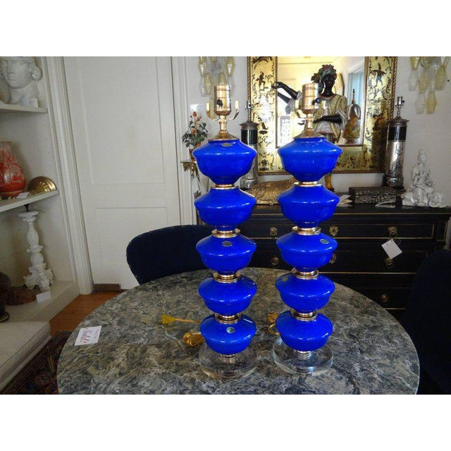 1960s Vintage Cobalt Blue Murano Glass Lamps by Balboa - a Pair For Sale - Image 4 of 10