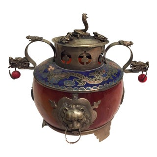 Asian Stone Enamel & Silver Incense Burner