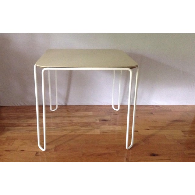Vintage Mid-Century Card Dinette Table Powder-Coat Hairpin Legs Off White Formica Top For Sale - Image 11 of 11