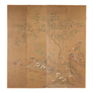"Chinese Style ""Magpies and Pheasants"" Hand-Painted Screen by Lawrence & Scott For Sale"
