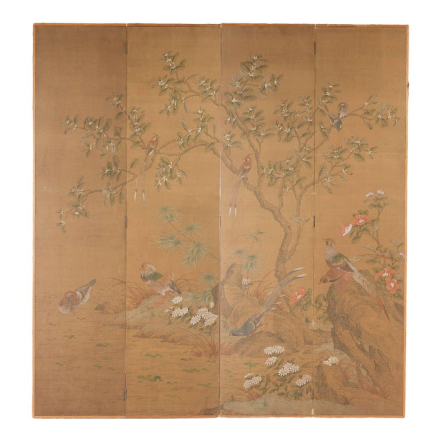 """Chinese Style """"Magpies and Pheasants"""" Hand-Painted Screen by Lawrence & Scott For Sale"""