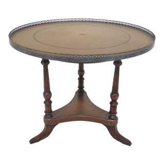Regency Round Leather Top Center Table W. Brass Gallery For Sale