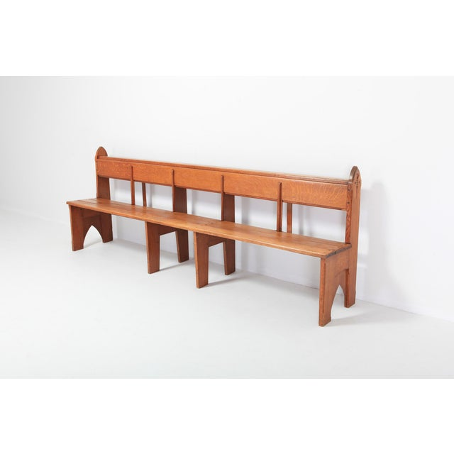 1930s Mid-Century Modern Solid Oak Bench Wabi Sabi Style For Sale - Image 5 of 9