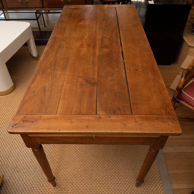 Wood French Provincial Cherrywood Farm Table For Sale - Image 7 of 11