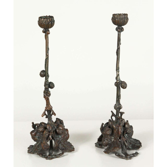Pair of Art and Crafts Bronze Candlesticks - Image 2 of 9