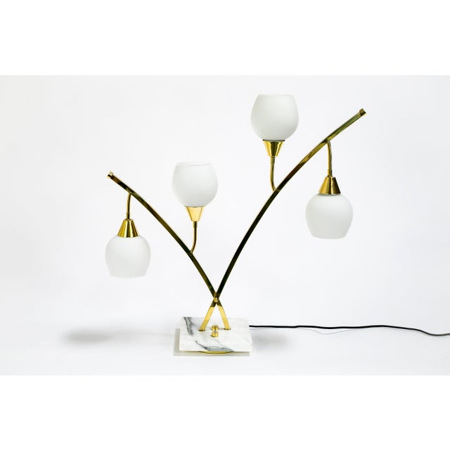 1950s Expansive Narrow Brass & Marble Mid-Century 4-Light Table Lamps W/ Glass Shades For Sale - Image 5 of 10