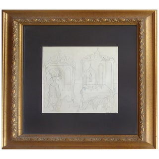 Illustration Pencil Drawing by Cuban American Artist Cundo Bermudez For Sale