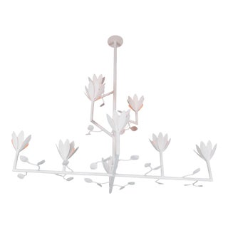 9 Bloom With Birds Plaster Chandelier For Sale