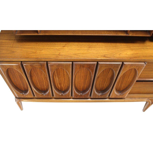Early 20th Century Large Heavily Carved Front Walnut Two Part Breakfront Bookcase Cabinet For Sale - Image 5 of 7