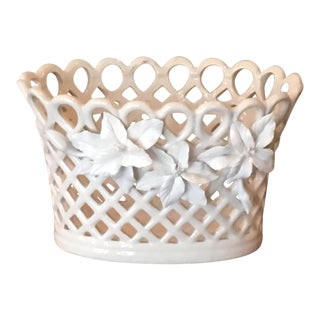 Vintage White Porcelain Lattice Raised Floral Planter Container For Sale