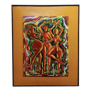 "1960s Abstract ""Three Sexy Black Women"" Nude Dancing Oil Painting For Sale"