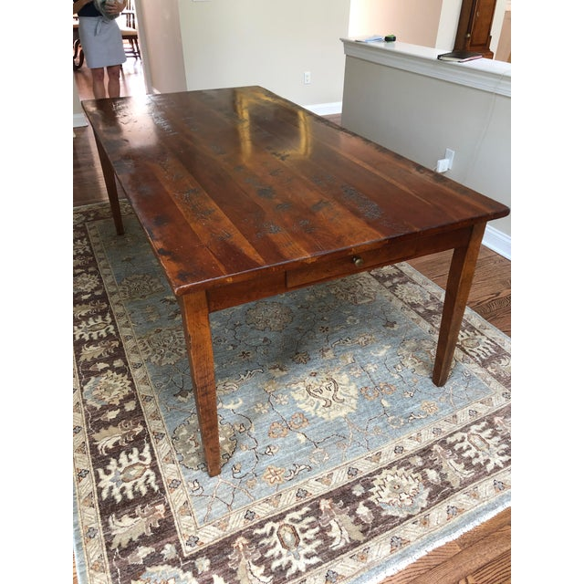 Wright Table Company Classic Distressed Hard Wood Farm Table For Sale - Image 9 of 13