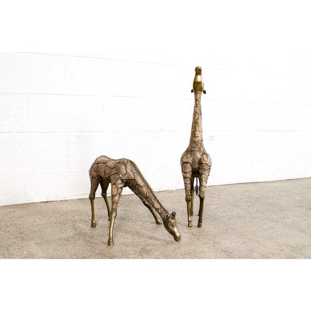 Mid-Century Modern Large Mid Century Brass Giraffe Floor Statues For Sale - Image 3 of 11