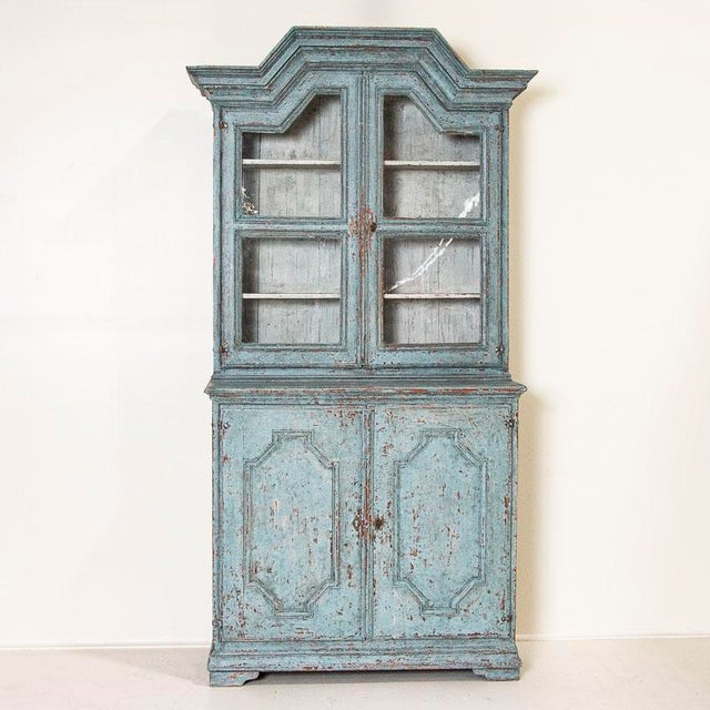 Farmhouse Antique Blue Painted Bookcase Display Cabinet From Sweden For Sale - Image 3 of 13