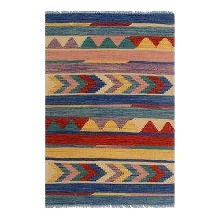 Kilim Arya Weston Blue & Rust Wool Rug - 2′8″ × 4′2″