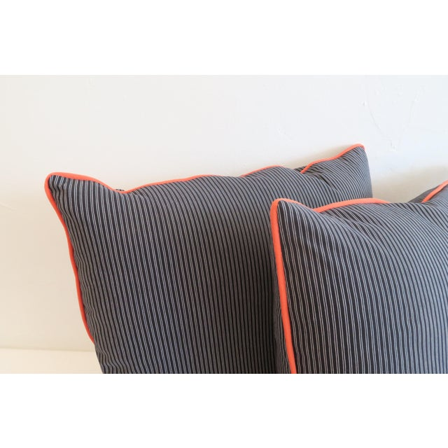 Traditional Custom Navy Stripe & Orange Trim Pillows - A Pair For Sale - Image 3 of 4