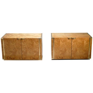 Pair of Small Burl and Brass Cabinets by j.c. Mahey, 1970s For Sale