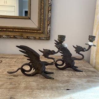 Antique Brass Griffin Dragon Gothic Candleholders- a Pair Preview