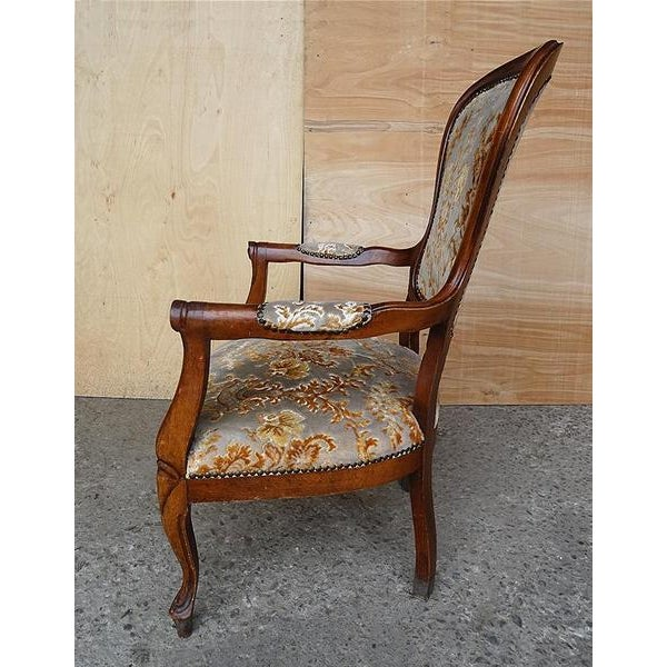 Wood Antique Elegant French Louis XV Style Original Floral Upholstery Walnut Armchair For Sale - Image 7 of 13