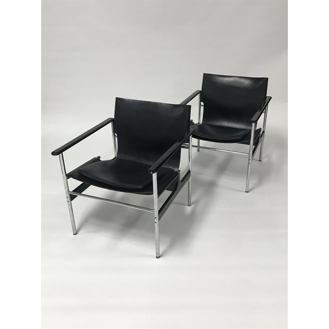 Charles Pollock for Knoll Black Leather Sling Chairs - a Pair For Sale - Image 9 of 9