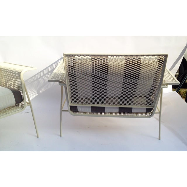 White Metal Outdoor Armchairs - Pair - Image 5 of 5