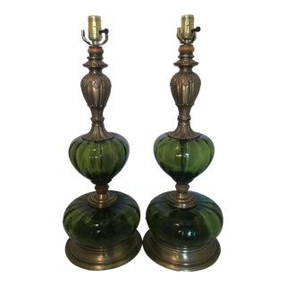 Pair of Mid-Century E F Industries Emerald Green Glass Retro Style Lamps For Sale