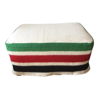 Vintage Pendelton Style Blanket Slipcovered Ottoman