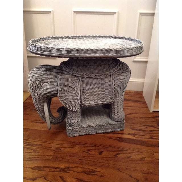 Chinoiserie Palm Beach Wicker Elephant Table For Sale - Image 4 of 4