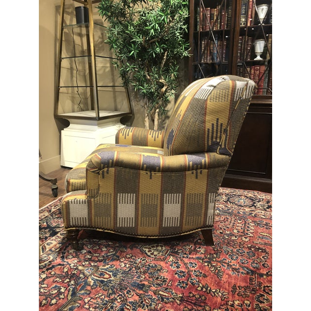 Ralph Lauren Ralph Lauren Blue Label English Roll Arm Chair in a Southwestern Themed Upholstery For Sale - Image 4 of 7