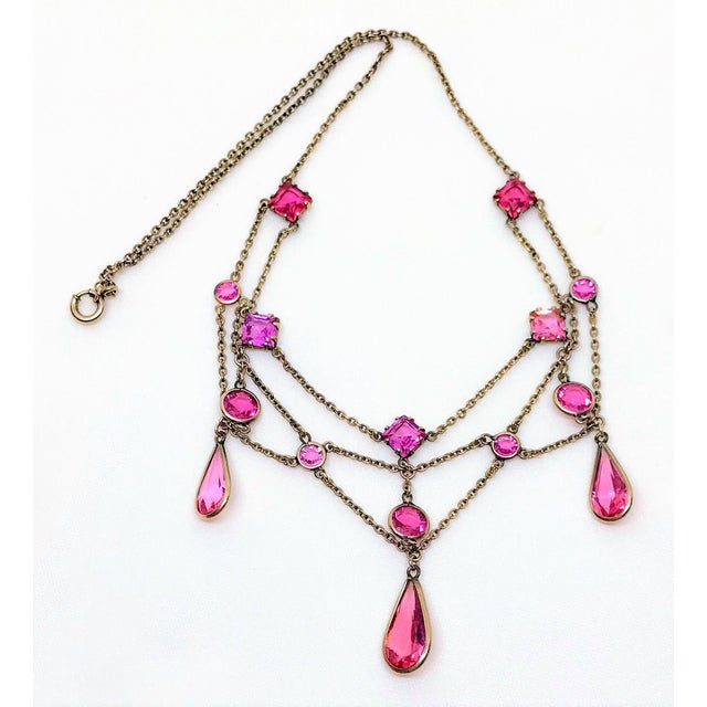 Early 1900s Gold-Filled and Pink Faceted Glass Festoon Necklace For Sale - Image 4 of 6