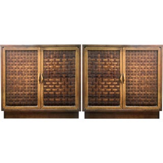 Mid Century Lane Perception Basket Weave Chests - a Pair For Sale