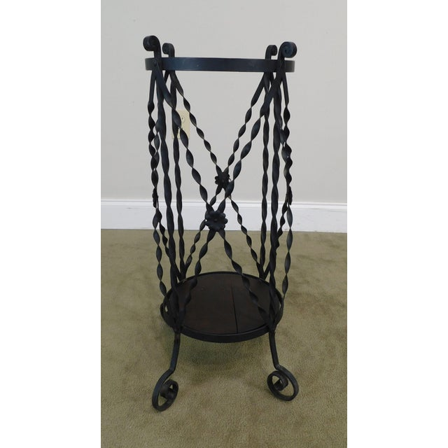 Aesthetic Antique Hand Wrought Iron Umbrella Stand For Sale - Image 9 of 13