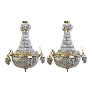 French XL Chandeliers Decorated With Deer in Gold Frame - a Pair For Sale