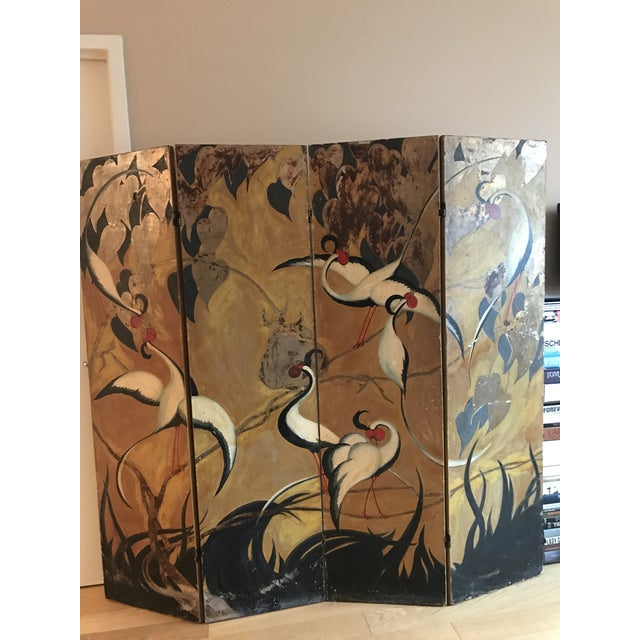 Vintage Mid Century 4 Panel Screen Oriental Style Screen For Sale - Image 4 of 12