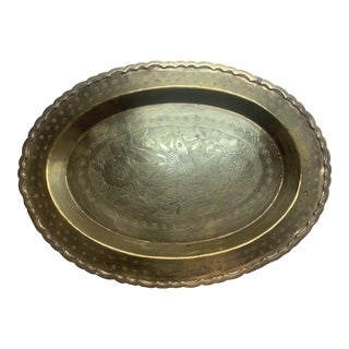 Vintage Brass Etched Tray With Bird and Flowers For Sale