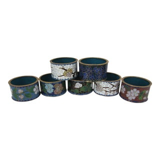 Cloisonné Napkin Rings-7 Pieces For Sale