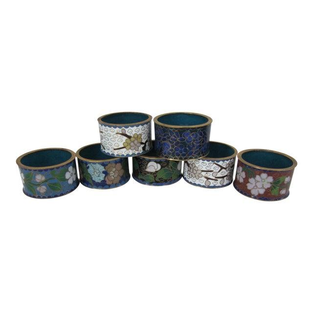 Cloisonné Napkin Rings-7 Pieces For Sale