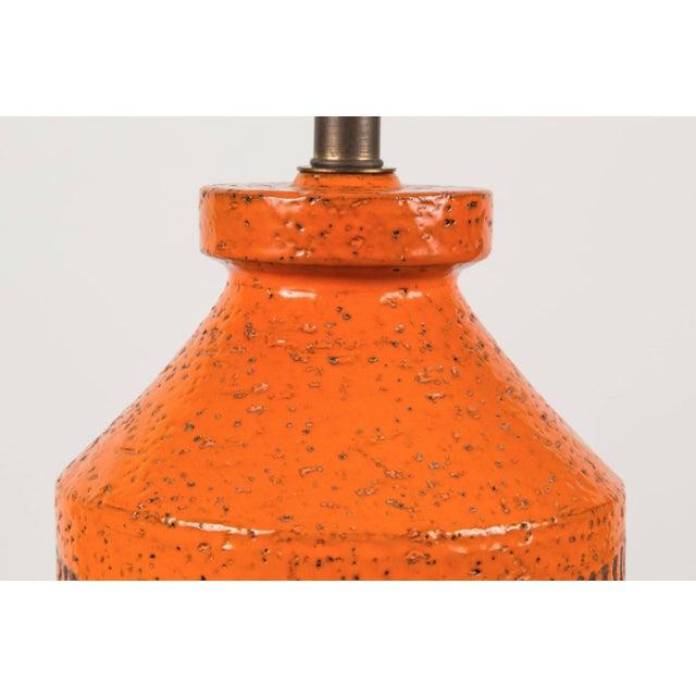 Boho Chic Bitossi Hand-Glazed Orange Studio Lamp For Sale - Image 3 of 6