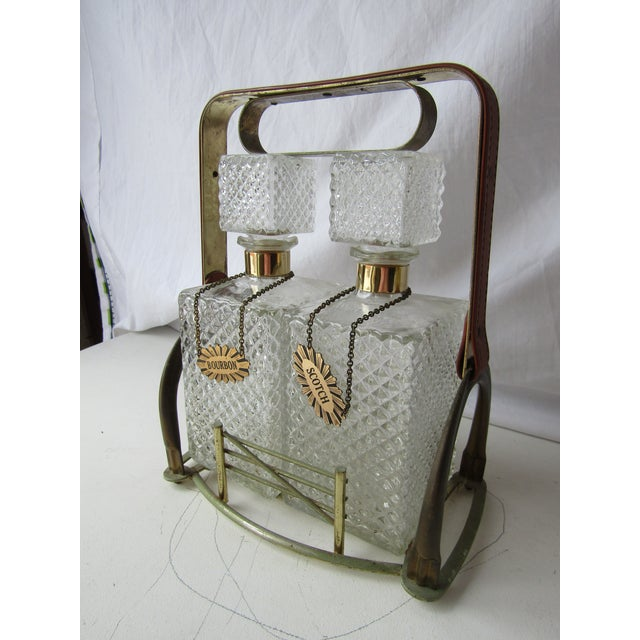 Metal Antique Clear Glass Decanter Set in Stand With Handle For Sale - Image 7 of 8