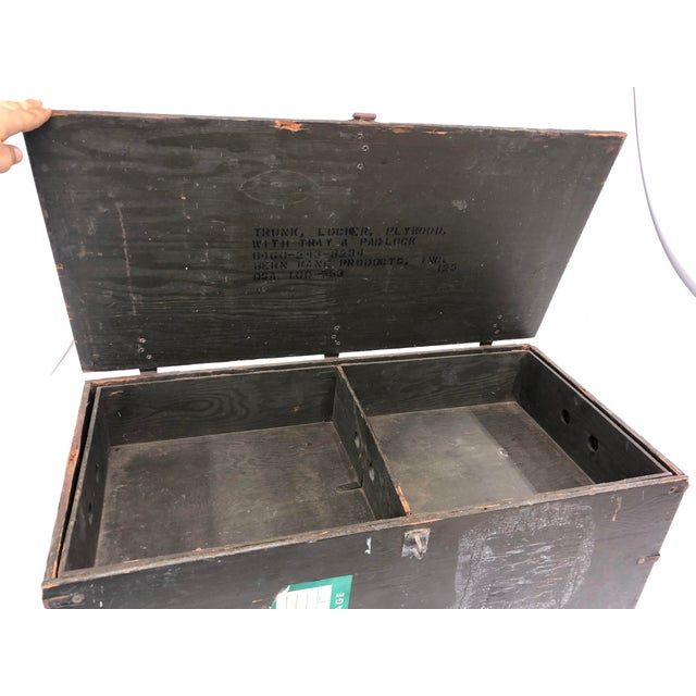 Vintage Industrial Wood Military Foot Locker With Tray For Sale - Image 9 of 13