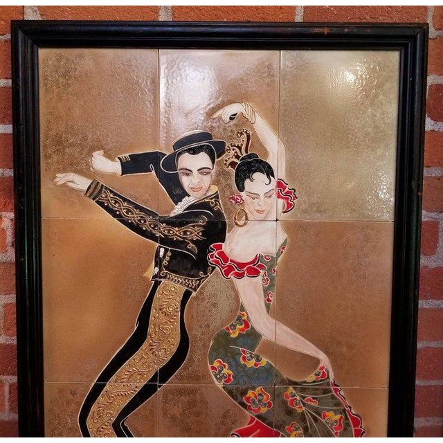 "1955 tile wall art by Irina Lorin, depicting flamenco or tango dancers. Mural consists of 12 tiles, each measuring 11.25""..."