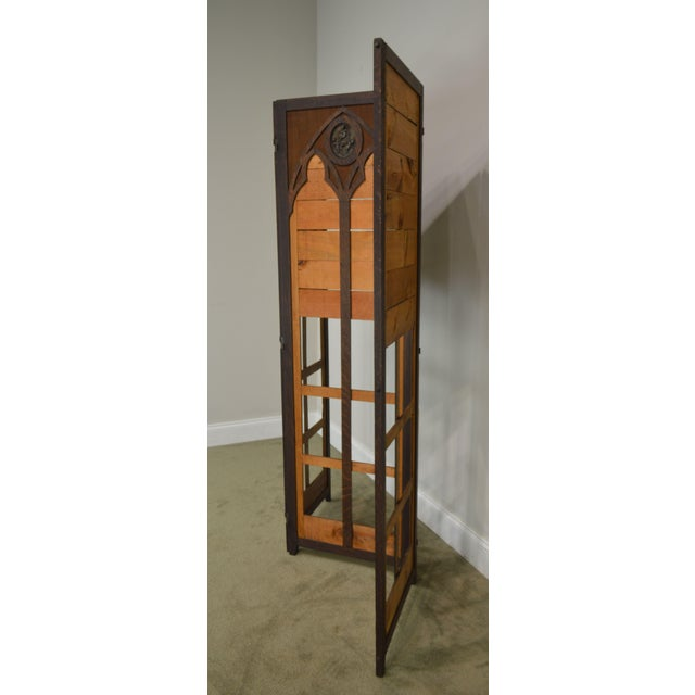 Late 19th Century Gothic Renaissance Revival Antique Oak Folding Screen With Bronze Plaques For Sale - Image 5 of 13