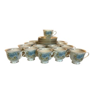 Vintage Hitkari China Blue and White Tea Cups & Saucers - Set of 14 For Sale