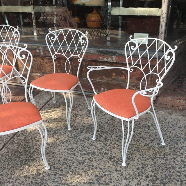 Mid Century Wrought Iron Patio Garden Dining Chair Set- 6 Pieces For Sale - Image 4 of 9