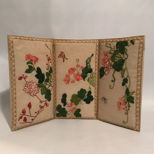 Small Floral Crewelwork Screen For Sale - Image 13 of 13